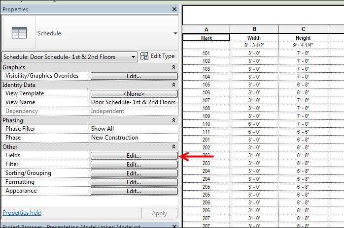 how to add parameters to door schedue in revit